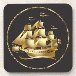 航海のな金ゴールドのヨット コースター