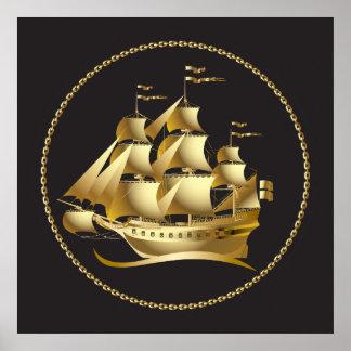 航海のな金ゴールドのヨット ポスター
