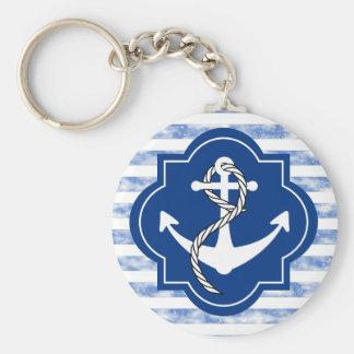 航海のな青い縞が付いているいかりのシルエット キーホルダー