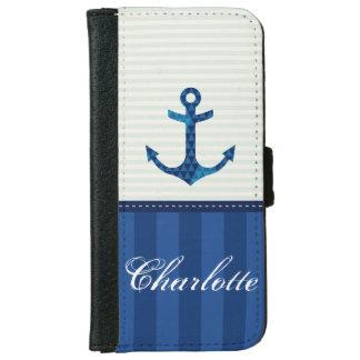 航海のな青い縞パターンいかりの名前をカスタムする iPhone 6/6S ウォレットケース