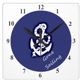 航海のな青の行った航海の白いいかり スクエア壁時計