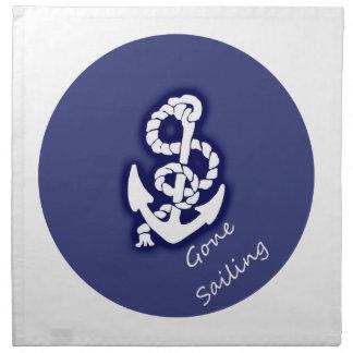 航海のな青の行った航海の白いいかり ナプキンクロス