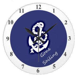 航海のな青の行った航海の白いいかり ラージ壁時計