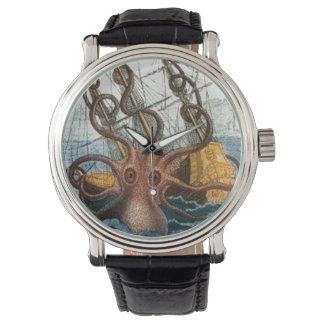 航海のな| Steampunk Krakenのタコの巨大なイカ 腕時計
