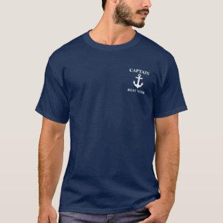 航海のなBoat Name Anchor Blue大尉のTシャツM Tシャツ
