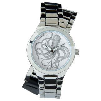 航海のなsteampunkのタコのヴィンテージはスケッチをkraken 腕時計