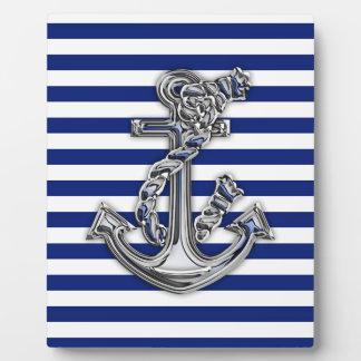 航海ののロープのいかりのようなクロムは縞で飾ります フォトプラーク