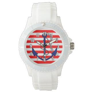航海の船のいかりの赤白青と縞で飾ります 腕時計