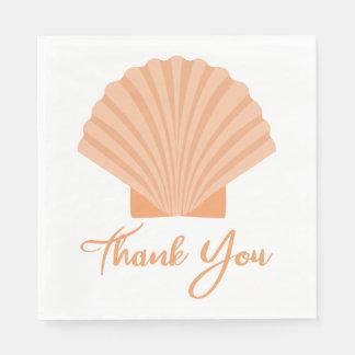 航海の貝殻のオレンジ結婚披露宴ありがとう スタンダードランチョンナプキン