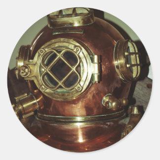 航海の|潜水|ヘルメット 丸形シール・ステッカー