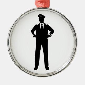 航空会社のパイロット メタルオーナメント