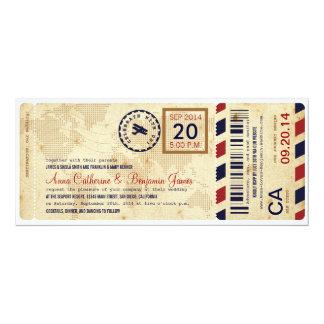 航空会社の搭乗券のチケットの結婚式招待状 カード