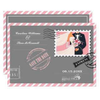 航空便のデザインの保存日付の結婚式の発表 カード