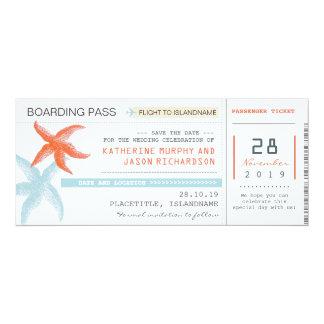 航空券の搭乗券の保存日付のデザイン 10.2 X 23.5 インビテーションカード