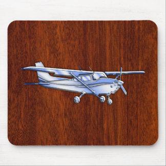 航空機のクラシックなクロムセスナの飛んでいるなマホガニー マウスパッド