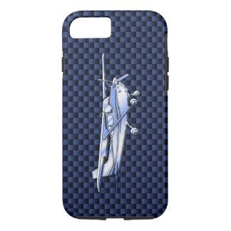 航空機のクラシックなクロムセスナ飛んでいるなカーボン繊維 iPhone 8/7ケース