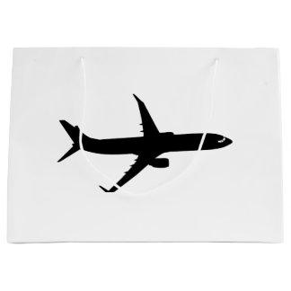 航空機のジェット旅客機の影飛行は色をカスタマイズ ラージペーパーバッグ