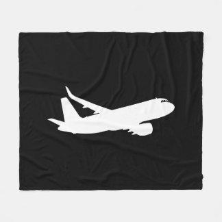 航空機のジェット機はさみ金の白いシルエットの飛んでいるな装飾 フリースブランケット