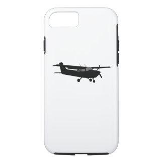 航空機のセスナの黒いシルエットの飛んでいるな装飾 iPhone 8/7ケース