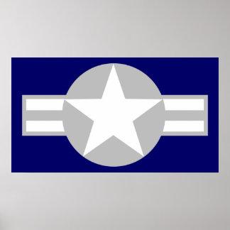 航空機の星-灰色-ポスター ポスター