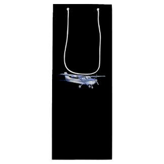航空機の黒のクラシックなセスナのシルエットの飛行 ワインギフトバッグ
