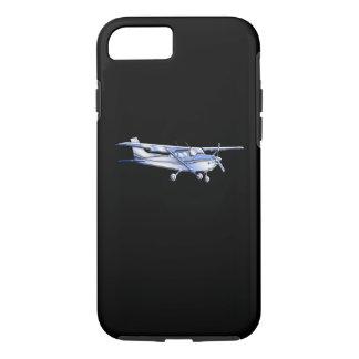 航空機の黒のクラシックなセスナのシルエットの飛行 iPhone 8/7ケース