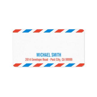 航空郵便のラベルのテンプレート 宛名ラベル