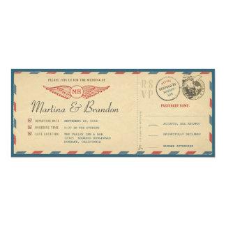 航空郵便の搭乗券のチケットの結婚式招待状 10.2 X 23.5 インビテーションカード