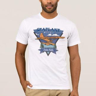 航空-水上飛行機のパイロット Tシャツ