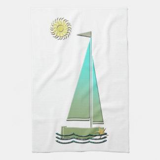 航行ボートの芸術 キッチンタオル
