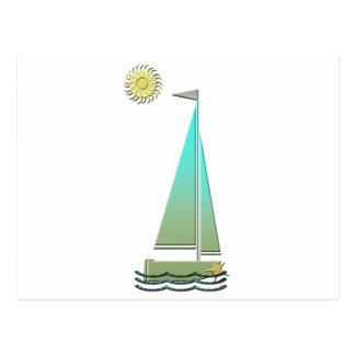 航行ボートの芸術 ポストカード