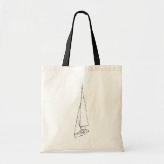 航行ボート。 白黒のスケッチ。 トートバッグ