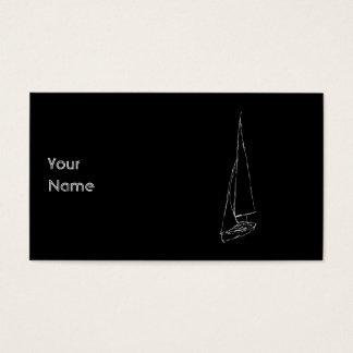 航行ボート。 白黒のスケッチ。 名刺