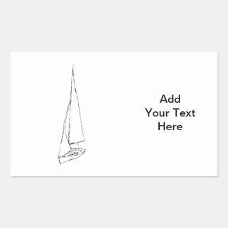 航行ボート。 白黒のスケッチ。 長方形シール