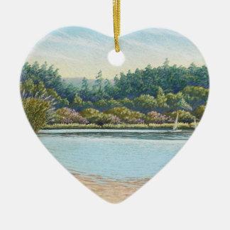 航行ボート、Frenshamの池はハート感謝していしています セラミックオーナメント