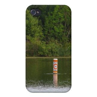 航跡の減速のブイの船遊びの川の自然の写真無し iPhone 4/4Sケース