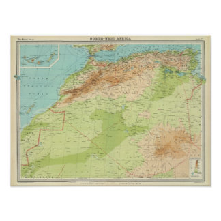 航路が付いている北西アフリカ ポスター