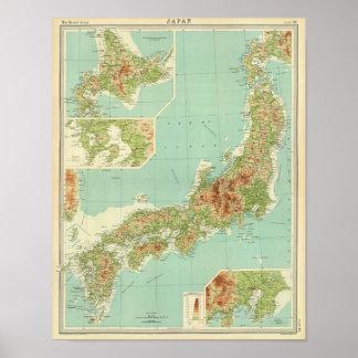 航路が付いている日本地図 ポスター