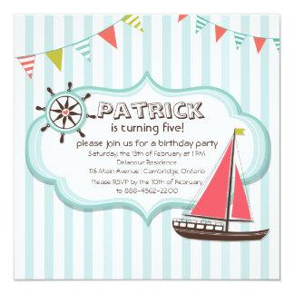 舵輪およびヨットの航海のな誕生日の招待状 カード