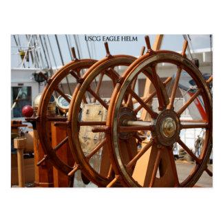 舵輪、USCGのカッターのワシ ポストカード
