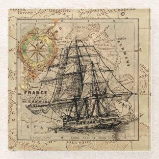 船および地図 ガラスコースター