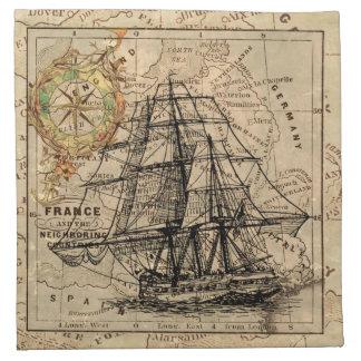 船および地図 ナプキンクロス