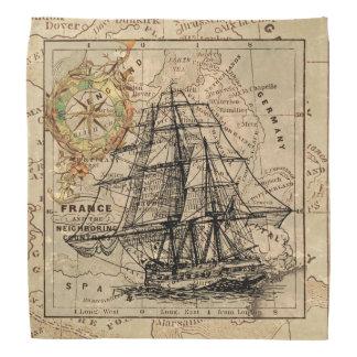 船および地図 バンダナ