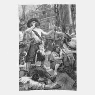 船で戦い、飲んでいるヴィンテージの海賊 キッチンタオル