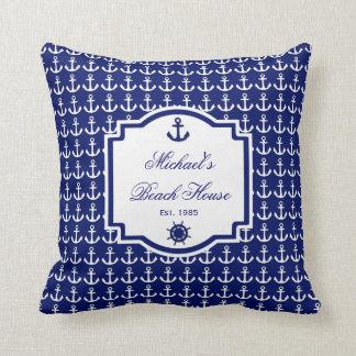 船のいかりの濃紺の航海のな枕 クッション
