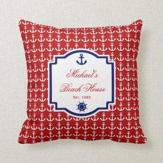 船のいかりの赤くおよび青の航海のな枕 クッション