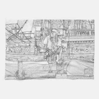 船のスケッチの海賊の足を搭載する海賊 キッチンタオル