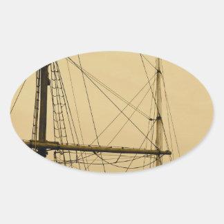 船のマスト 楕円形シール