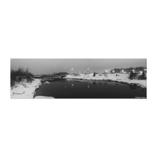 船の入り江、アラスカの白黒パノラマ キャンバスプリント