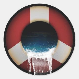 船の円形のステッカーを跳んで下さい ラウンドシール
